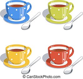 Tea cup and spoon. Set of vector illustrations