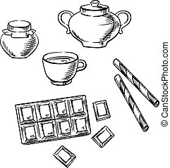 Tea cup, confectionery and honey sketches