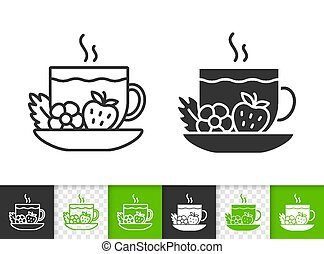Tea cup fruit berry simple black line vector icon