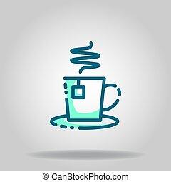 tea cup icon or logo in  twotone - Logo or symbol of tea cup...