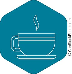 Tea cup icon, outline style