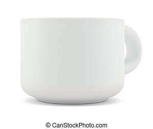 Tea cup isolated on white front view