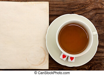 tea cup saucer paper old sugar heart valentine's background