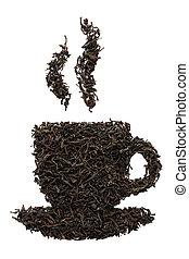 Tea cup shape made of dry black tea leaves. Isolated.