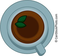 Tea cup top view. Vector flat icon