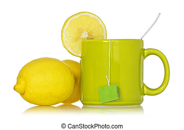 Tea cup with a lemon
