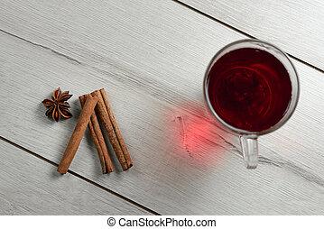 tea cup with cinnamon