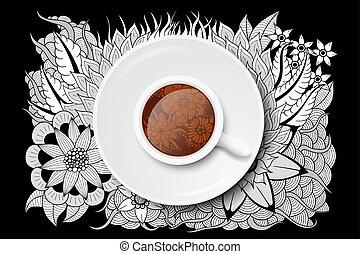 tea cup with doodle design