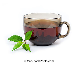 Tea cup with green leaves