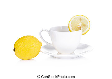 tea cup with lemon isolated on white background