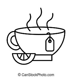 tea cup with lemon line style icon