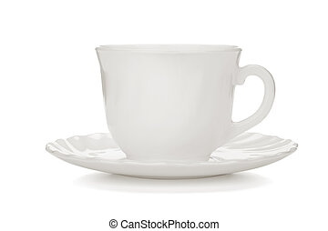 Tea cup with saucer. Isolated on white background