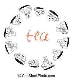 Tea cups frame funny banner hand drawn design