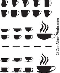 Tea cups - The silhouettes of large and small tea cups and...