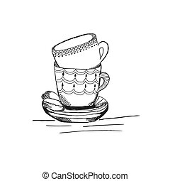 tea cups in sketch style, hand drawn vector illustration