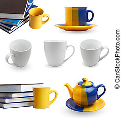 tea cups on white background collage