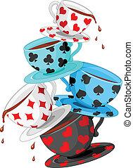 Set of colorful wonderland tea cups pyramid