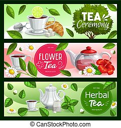 Tea cups, teapots and leaves with sugar, teabags