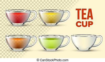 Tea Cups With Color Liquid Vector 3D Set