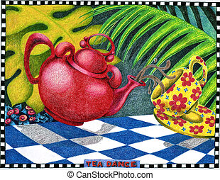 Tea Dance - Color illustration of psychedelic tea pouring in...