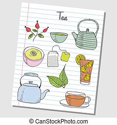 Illustration of tea colored doodles on lined paper
