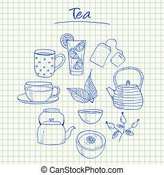 Illustration of tea ink doodles on squared paper