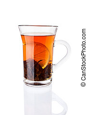 Tea Drink with Lemon in The Glass Cup
