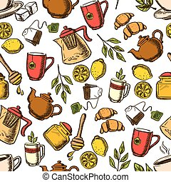 Tea drinks seamless pattern with cups and leaves