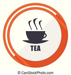 Tea flat design vector web icon. Round orange internet button isolated on white background.
