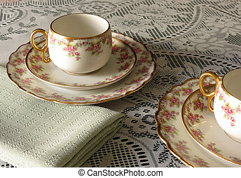 Tea for 2 - Antique Limoges Bridal Wreath cups, saucers and...