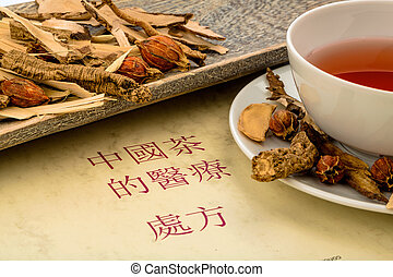 tea for traditional chinese medicine - ingredients for a tea...