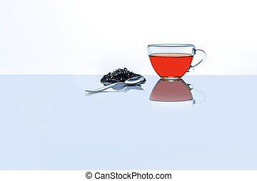 Tea glass cup with spoon