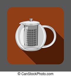 Tea glass pot concept background, cartoon style