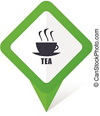 Tea green square pointer vector icon in eps 10 on white background with shadow.