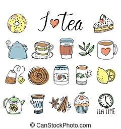 Tea Hand Drawn Elements Set