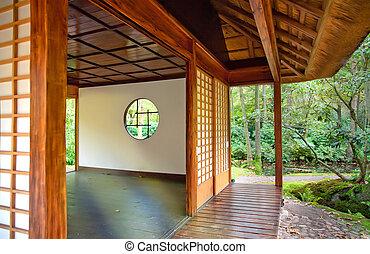 Tea house in Japanese park
