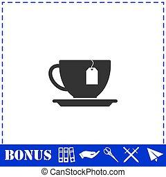 Tea icon flat