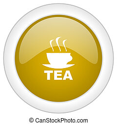 tea icon, golden round glossy button, web and mobile app design illustration