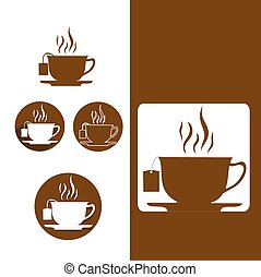 tea icons in various styles flat de
