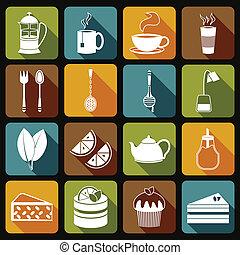 Tea Icons Set Flat