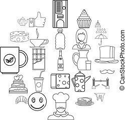 Tea icons set, outline style