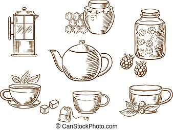 Tea icons with jam, honey, cups and teapots