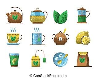Tea icons with retro texture