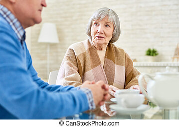 tea, idősebb ember, élvez, barátok