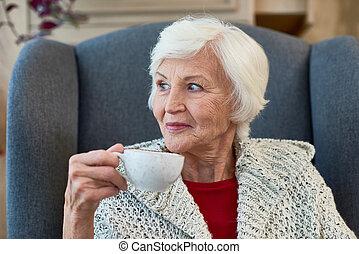 tea, idősebb ember, élvez, hölgy