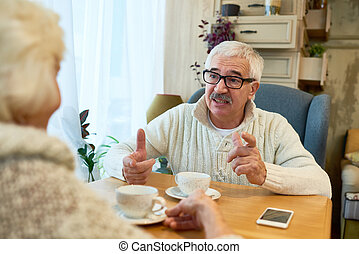 tea, idősebb ember, élvez, párosít, idő
