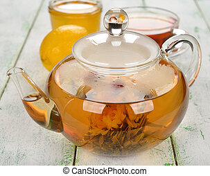 Tea in glass teapot