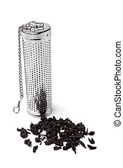 Tea infuser cylinder with a handful of tea