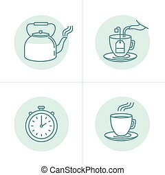 Tea infusion instructions and guide - Vector illustration in...