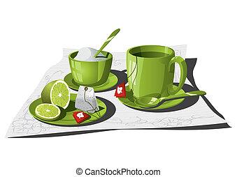 Tea Infusion - Vector illustration of a personal tea set....